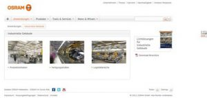 Online - Osram, Webseite - Applikation Industrie