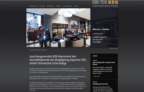 Online - RZB-TDX Lighting, Webseite