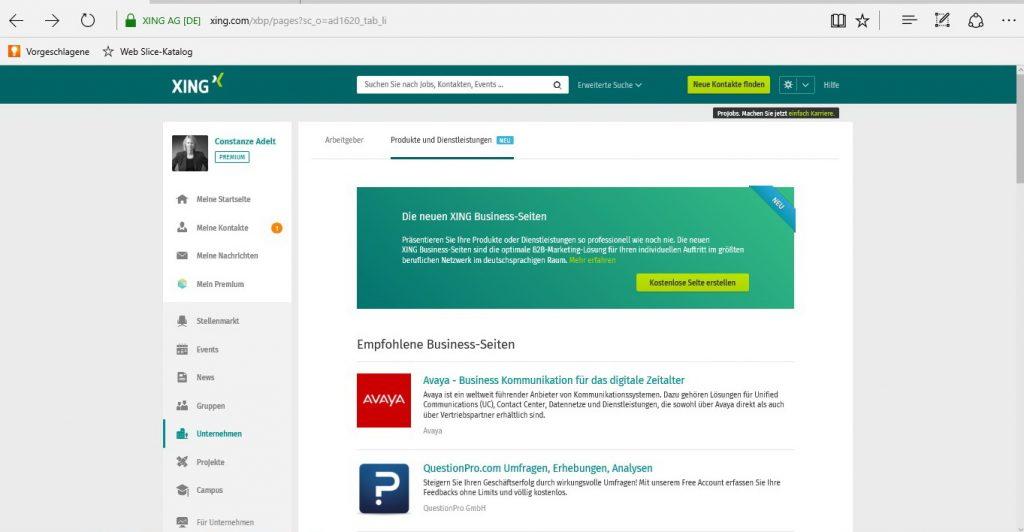 Business-Seite gestalten, Einstieg zum Auffinden und Anlegen, Button Erstellen