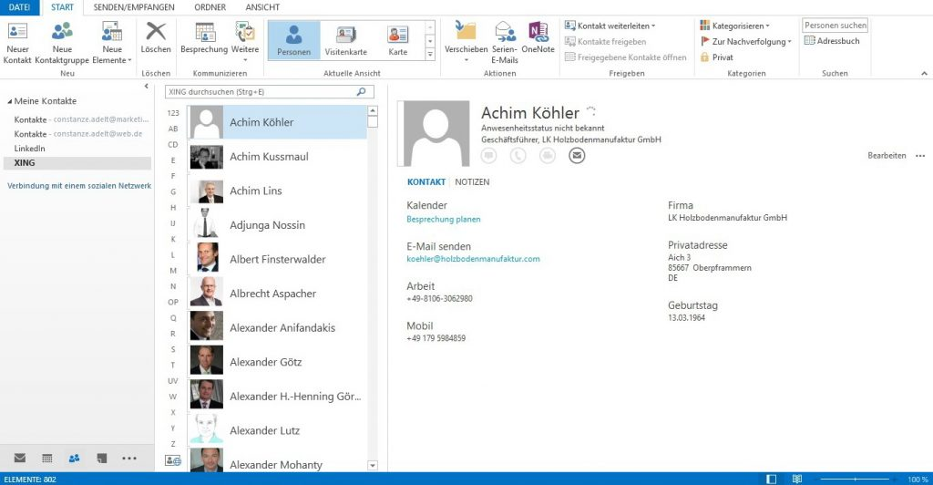 Outlook-Connector - XING-Ordner