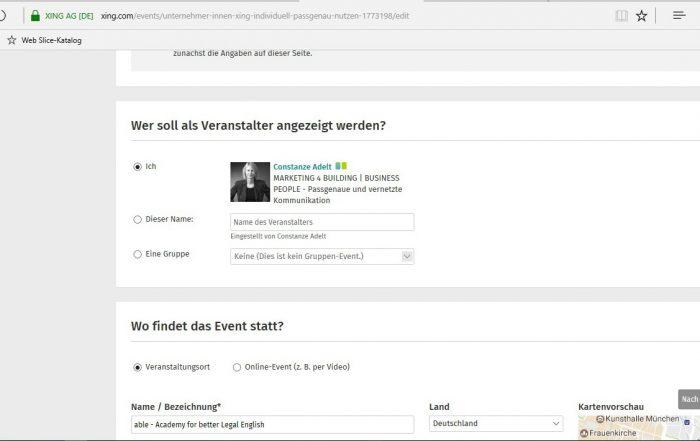 Event organisieren - Angaben Veranstalter