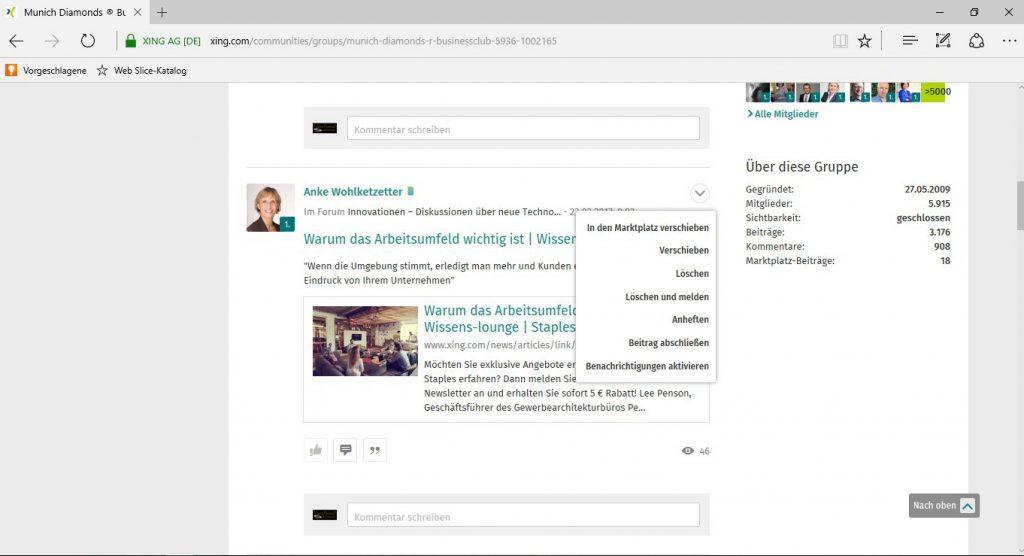 Gruppenforen - Verwaltung, Funktionen Moderator