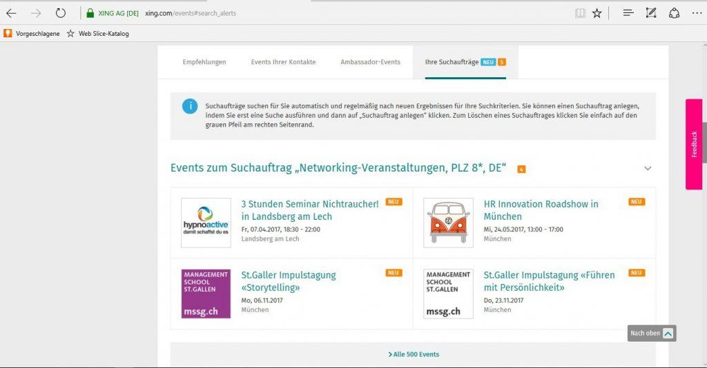 Suchauftrag Events - Ansicht Suchauftrag