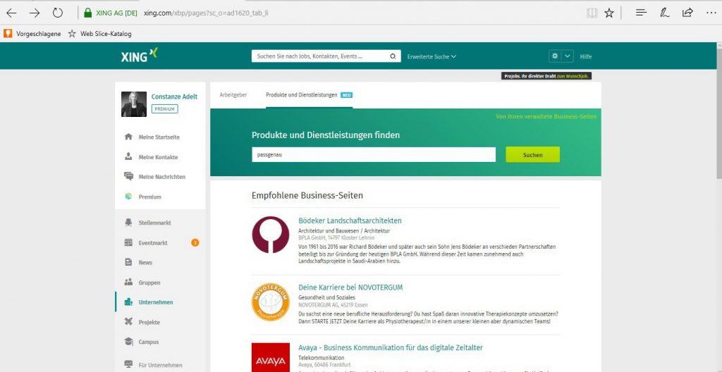 Suche nach Business-Seite, Einstieg über Navigationspunkt Unternehmen