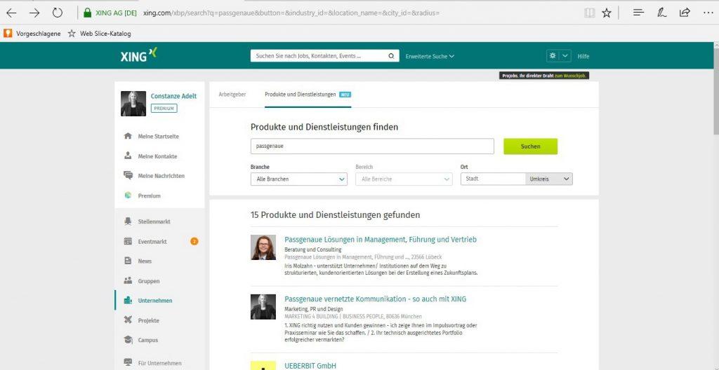 Suche nach Business-Seite, Einstieg über Navigationspunkt Unternehmen_Suchmaske