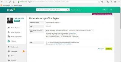 Unternehmensprofil gratis - sofort erstellbar mit Freigabe durch XING