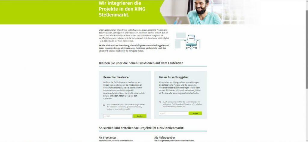 Projektmarkt - Integration in Stellenmarkt, Anmeldung Newsletter