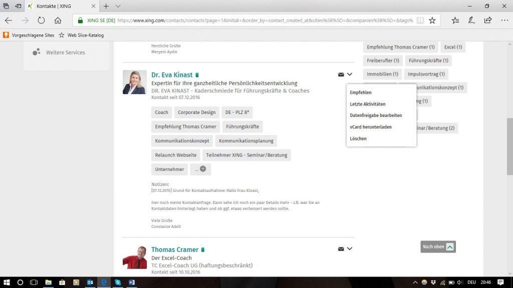 Neue Ansicht, Persönliches Profil - Visitenkarte, Kategorien_Empfehlen_Löschen