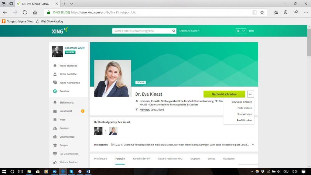 Neue Ansicht, Persönliches Profil - Visitenkarte, Kontaktpfad_Notizen