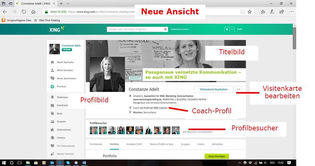 Neue Ansicht, Persönliches Profil - Visitenkarte