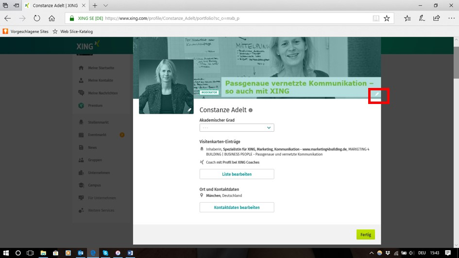 Neue Ansicht, Persönliches Profil - Visitenkarte bearbeiten