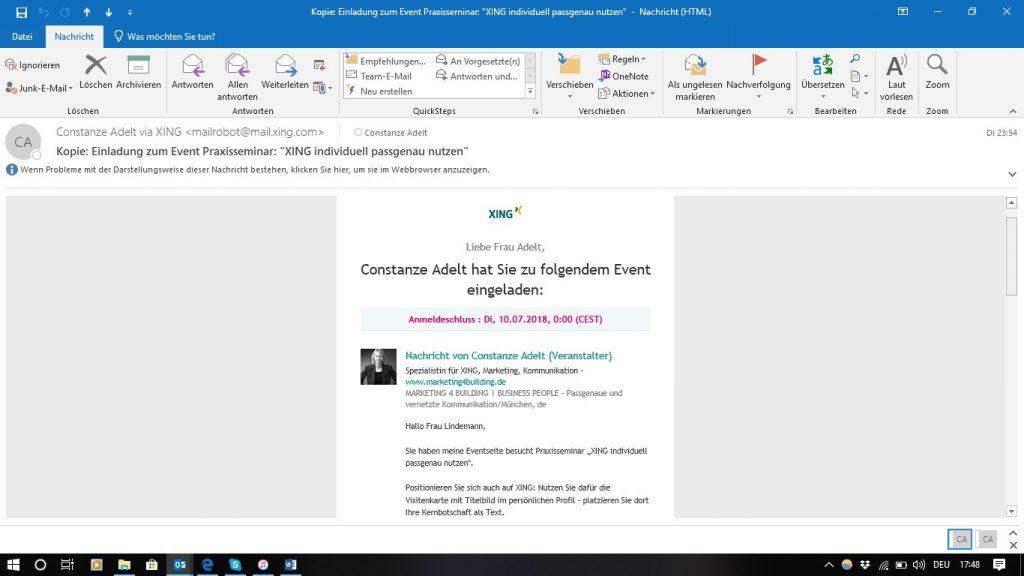 Event - Einladung via XING, verwendeter Text