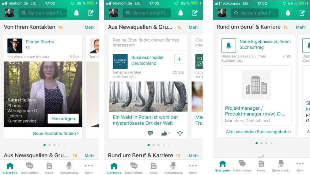XING App - Startseite