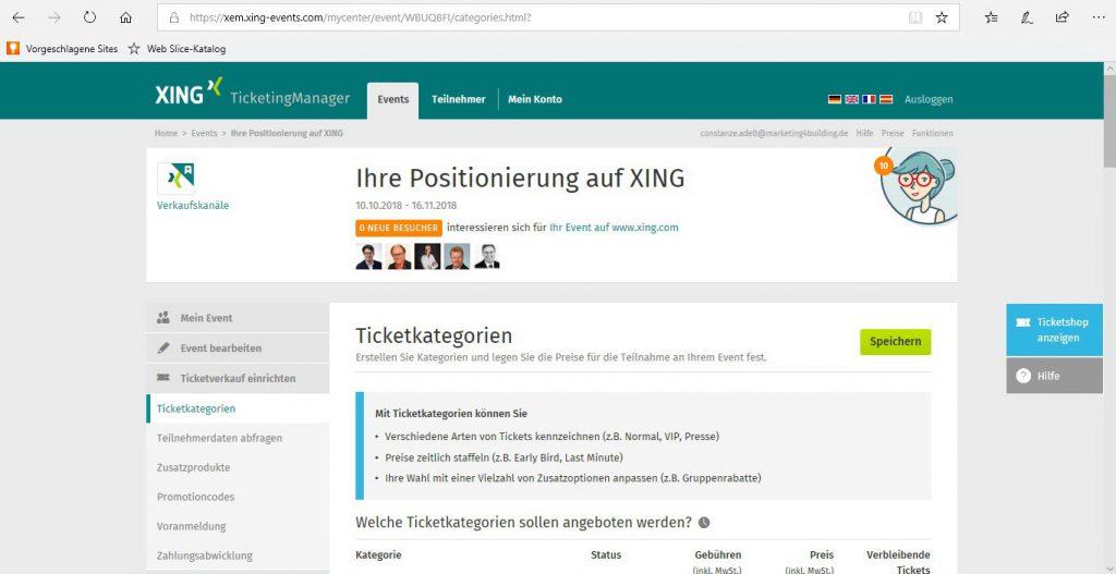 Eventübersicht - Reiter Tickets mit XING Events Verbindung