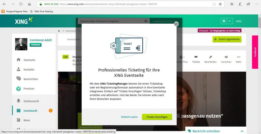 Eventübersicht - Reiter Tickets ohne XING Events Verknüpfung