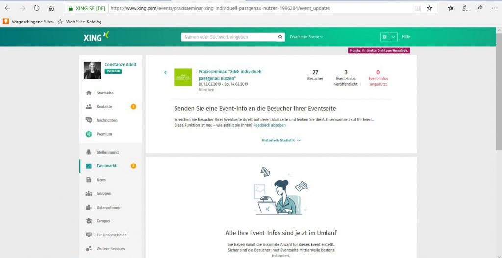 Eventbesucher - Event-Info Statistik