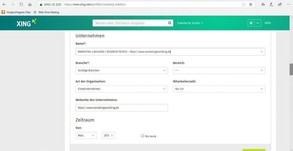 Visitenkarte - Verlinkung setzen unter Berufserfahrung, Name des Unternehmens