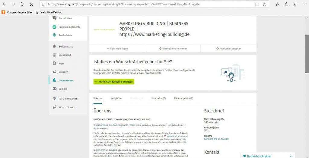 XING - Zusammenlegen Businessseeite und Unternehmensprofil - Kostenloses Unternehmensprofil
