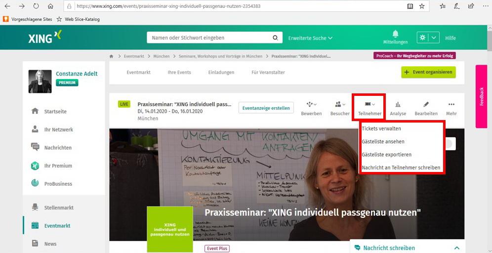 Eventansicht als Administrator - Funktion Teilnehmer