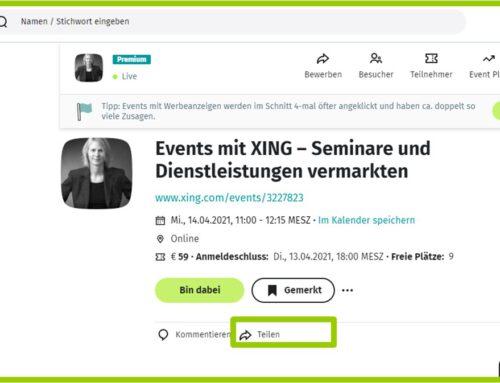 Ihr Event auf XING promoten